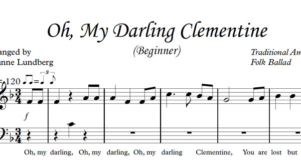 Oh, My Darling Clementine Sheet Music