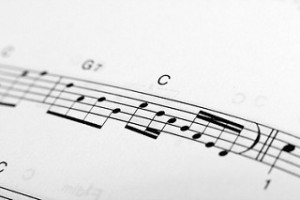 music notation with chord names