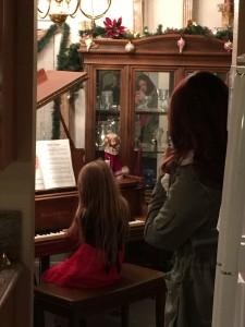 beginner student performing